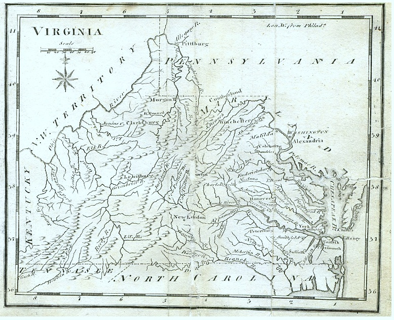Early Map of Virgina showing the western portion of the state and early roads